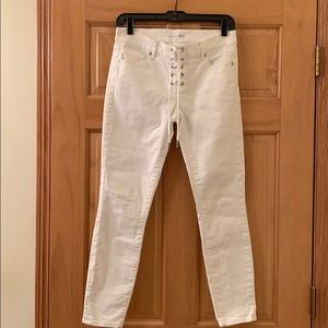 LOFT Modern Skinny lace front white jeans.